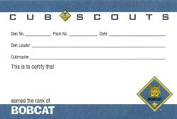 Cub Scout Rank Pocket Card