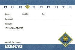 Cub Scout Rank Pocket Card